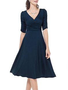 c09de035c7 V Neck Plain Skater Dress  skaterdress  skater  dresses  dressesforwomen   dresscasual