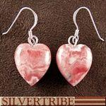 Navajo Indian Rhodochrosite Heart Bead Earrings Jewlery