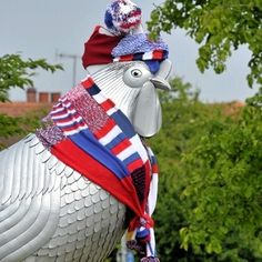 'Guerrilla knitters' made Dorking cockerel scarves - News - getsurrey