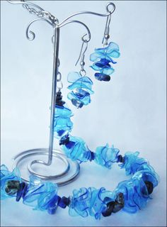jewelry made from recicled PET bottles and lapis lazuli chips