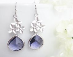 Mothers Day, Purple Dangle Earrings, Cherry Blossom Dangle Earrings, Drop Earrings, Bridesmaid Earrings, Bridesmaid Jewelry, Wedding Jewelry
