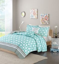 Lita in Aqua, Grey and White Coverlet Sets by Intelligent Design