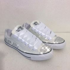 Sparkly White or Ivory Glitter bling Converse All Stars Bride Wedding Shoes  Sneakers 5e2581830