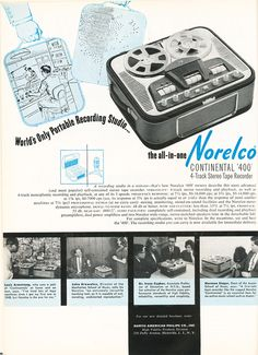 1961 ad for Norelco Continental 400 reel to reel tape recorder in   Phantom Productions' vintage recording collection