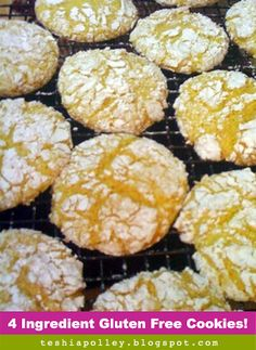 35 Calorie Cake Mix & Pudding Cookies (pictured are Lemon Cookies, endless combinations to try!)(use low carb/gluten free cake mix, whipped topping; use sugar free pudding mix; use sugar sub for low carb) Gluten Free Deserts, Gluten Free Sweets, Foods With Gluten, Gluten Free Cooking, Gf Recipes, Gluten Free Recipes, Cooking Recipes, Cooking Ideas, Sin Gluten