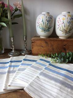 Vintage pure linen Almedahls woven Scandinavian hand towel kitchen towel set of 5 greige blue natural Vintage Textiles, Kitchen Towels, Scandinavian Style, Hygge, Hand Towels, Linens, My Etsy Shop, Pure Products, Blue