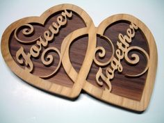 Forever Together Double Hearts Wall Decor Handcrafted Walnut Poplar | KevsKrafts - Woodworking on ArtFire $18