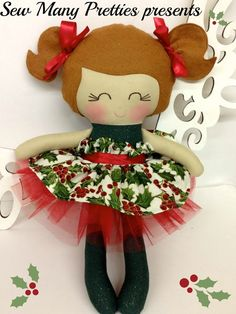 15 inch handmade Christmas doll from Sew Many Pretties