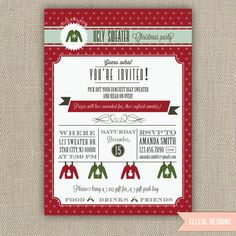 Ugly sweater Christmas party Invitation - Holiday party. $16.00, via Etsy.