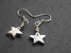 Silver Star Earrings PMC Fine Silver  Precious by KowalaBeads