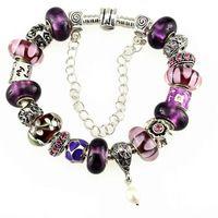 fashion charm bracelets for women 2014 fashion silver jewelry new arrival elegant purple charm bracelet