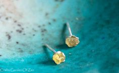 Golden yellow topaz raw stud earrings - sterling silver stud earring