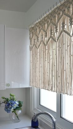 Macrame kitchen curtain custom short macrame wall hanging Hollywood regency Curtains rustic valance Bohemian boho chic eclectic decor Kitchen Macrame Curtains Bohemian Short curtain by KnotSquared Rustic Valances, Rustic Curtains, Diy Curtains, Kitchen Curtains, Window Curtains, Bedroom Curtains, Window Privacy, Curtains Living, Diy Bedroom