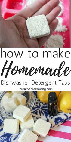 Learn how to make easy DIY homemade dishwasher detergent with natural ingredients that really works! Combine the essential oils and powder to make tabs that are easy to store and easy to use - just pop one tablet in for each load! Homemade Cleaning Products, Homemade Soap Recipes, Natural Cleaning Products, Homemade Dishwasher Detergent, Dishwasher Tabs, Baking Soda Shampoo, Baking Soda Uses, Washing Soda, Natural Cleaners