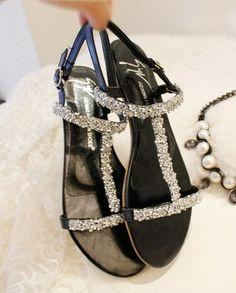 Free shipping new 2014women summer sandal wedge heels rhinestone sequins with flat Roman sandals $29.90