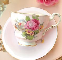Vintage Pink Paragon Fine China Teacup and Saucer by HouseofLucien