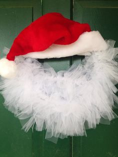 This is a fun Santa clause wreath to hang on your door or inside your home! If you are hanging on a door make sure that it is protected from the