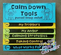 Down Anger Control Flipbook This calm down tools flipbook is the perfect way to get kids talking and understanding their anger.This calm down tools flipbook is the perfect way to get kids talking and understanding their anger. Elementary School Counseling, School Social Work, School Counselor, Elementary Schools, Counseling Activities, Therapy Activities, Group Counseling, Communication Activities, Kindness Activities