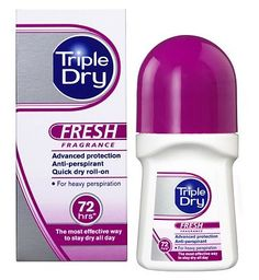 Triple Dry Anti-Perspirant Roll-On Fresh 24 Advantage card points. Triple Dry advanced protection fresh fragrance Anti-Perspirant deodorant for heavy perspiration. FREE Delivery on orders over 45 GBP. (Barcode EAN=5014697053343) http://www.MightGet.com/april-2017-1/triple-dry-anti-perspirant-roll-on-fresh.asp