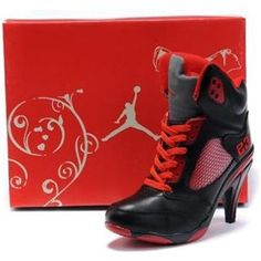 For Wholesale Air Jordan 5 V Womens Heels Ankle Boots Black Red Hot Sell b140dfc91