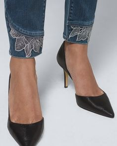 Jeans For Women - Skinny, Bootcut, Leggings & More - White House Black Mark. -Shop Jeans For Women - Skinny, Bootcut, Leggings & More - White House Black Mark. Skinny Ankle Jeans, Cropped Skinny Jeans, Lace Jeans, White Jeans, Reversible Dress, Queen Fashion, Pants Pattern, Jeans Style, Bootcut Leggings