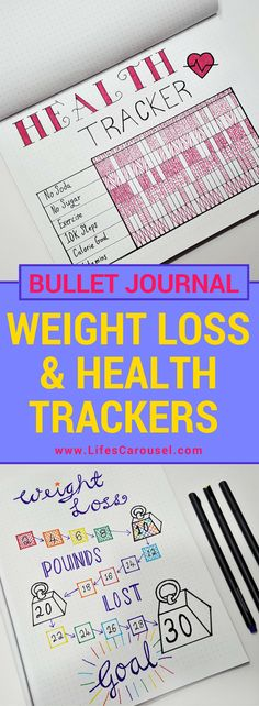 Weight Loss Tracker Bullet Journal | Use your bullet journal to track your weight loss, meal planning, health, exercise and more. Weight Loss Tracker Spread & Health Tracker Spread.
