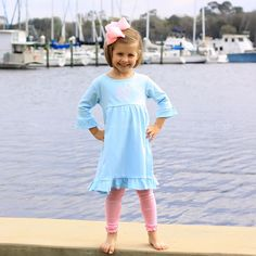 2/21/2013   Light Blue Knit 3/4 Length Ruffle Sleeve Dress