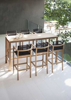 Royal Botania XQI luxury teak bar furniture is made in A grade teak and high quality Batyline synthetic mesh in Bronze, Black or White colours. XQI modern teak garden furniture collection also includes garden dining and relax furniture. Table Haute Bar, High Bar Table, Bar Table And Stools, Outdoor Bar Table, Bar Table Sets, Patio Bar Set, Bar Chairs, Table And Chairs, Bar Tables