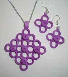 Square paper quilled pendant/earring set by hobbyhours on Etsy