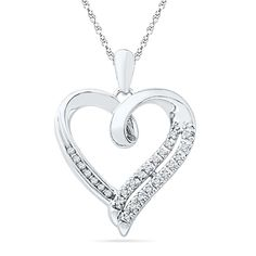 Sterling Silver Round Diamond in Heart Pendant (1/10 cttw) > Awesome jewelry available right here.  : Jewelry Trends