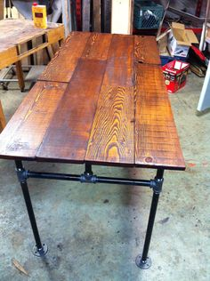 Barn wood Fir and Cast Iron Pipe Desk by JSReclaimedWood on Etsy