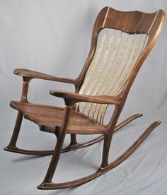 """Nice Walnut and Flame Maple rocker... love the """"pinstripe Maple detail as well."""