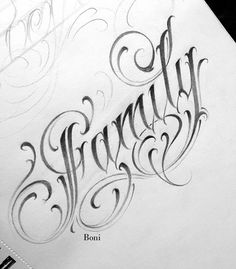 Tattoo Lettering Design, Chicano Lettering, Graffiti Lettering Fonts, Hand Lettering Alphabet, Tattoo Design Drawings, Acab Tattoo, Tattoo Script, Tattoo Fonts, Family Tattoo Designs