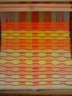 spindle and shuttle; Honeycomb Sample Warp and weft are Knit Picks Palette wool. Accent weft is Knit Picks Telemark.