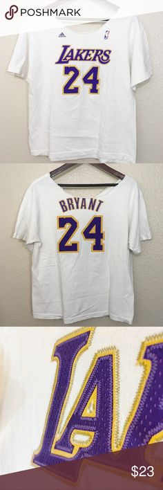 0ef4ddd8d349 NBA Adidas Lakers Kobe Bryan TShirt Los Angeles Lakers Kobe Bryant Adidas  white net number t