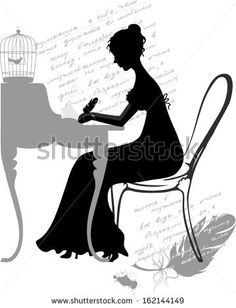 Young girl writes love letter. Vector silhouette illustration.