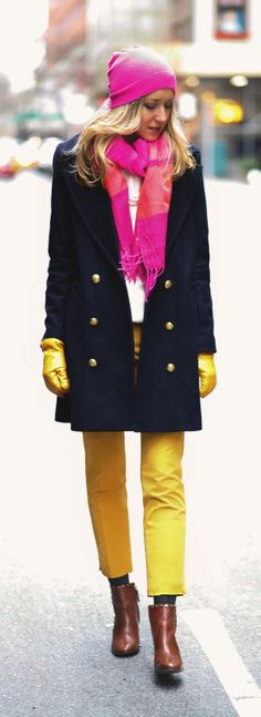 The Classy Cubicle: Mustard {tory burch, banana republic, express, linea pelle, double breasted navy coat, brown studded booties, hot pink beanie and scarf, work wear, office fashion}