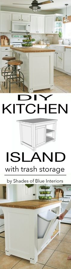 DIY Kitchen Makeover Ideas - DIY Kitchen Island With Trash Storage - Cheap Projects Projects You Can Make On A Budget - Cabinets, Counter Tops, Paint Tutorials, Islands and Faux Granite. Tutorials and (Diy Furniture On A Budget) Diy Kitchen Island, Kitchen Redo, New Kitchen, Kitchen Storage, Kitchen Dining, Kitchen Makeovers, Kitchen Cabinets, Diy Cabinets, Kitchen Small