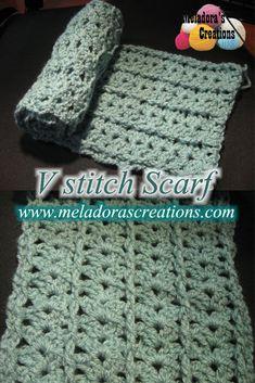 V Stitch Scarf – Free Crochet Pattern & tutorials - by Meladora's Creations