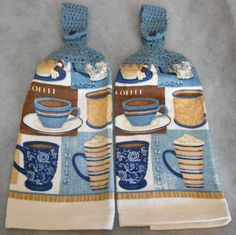 Crocheted Handle Top Coffee Cup Theme Towels - Coffee Hanging Hand Towels - Crochet Top Kitchen Hand Towels - Coffe Cup Granny Towels by CrochetByIlene on Etsy
