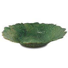 Lacy Pottery Bowl in Copper Green