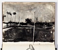 Diebenkorn, Ink wash or watercolor with graphite, Page 047 from Sketchbook # 17 [landscape; formerly 2014.17.51]
