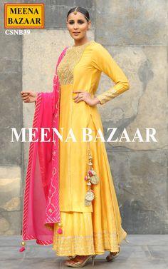 Yellow Chanderi Sharara Suit @ MeenaBazaar Pakistani Dresses, Indian Dresses, Indian Outfits, Anarkali Dress, Anarkali Suits, Lehenga, Indian Attire, Indian Ethnic Wear, Ethnic Suit