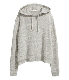Light gray melange. Sweater in a soft knit with wool and alpaca wool content. Drawstring hood, dropped shoulders, and slits at sides.