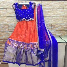 Half Saree Lehenga, Lehenga Blouse, Black Lehenga, Anarkali, Half Saree Designs, Saree Blouse Designs, Kalamkari Dresses, Ikat Dresses, Baby Dresses