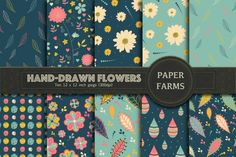 Hand drawn flowers digital paper    The Hungry JPEG. Perfect for backgrounds, invitations, valentines day, greeting cards, quotes, websites and more.  **Affiliate Link**