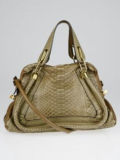 f5090b0060aba8 Authentic Chloe Dark Khaki Python and Leather Medium Paraty Bag at Yoogi's  Closet. Condition is Gently used