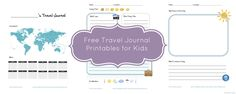 Kid travel journal printables downloadable at  We3Travel.com. These are great for prompting kids to write about their trip! 3 pages available for download.