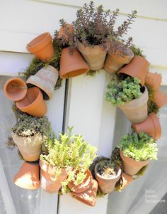 Every gardening enthusiast will fall head-over-heels in love with this adorable (gravity defying!) potted wreath. Get the tutorial at Bees Knees Bungalow.