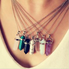 2016 Fashion Resin Turquoise Hexagonal Column Pendant Necklace for Women Simulated Agate Amethyst Chain Necklaces N10095